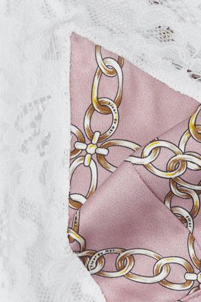 FLEUR DU MAL Lace-trimmed printed silk-blend satin soft-cup triangle bra