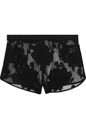 FLEUR DU MAL Flocked mesh wool-blend pajama shorts