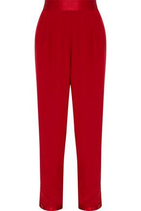 FLEUR DU MAL Satin-trimmed silk tapered pants