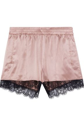 FLEUR DU MAL Lace-trimmed silk-satin pajama shorts