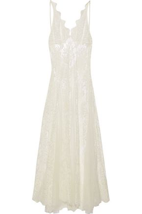 I.D. SARRIERI Tulle-paneled corded lace nightgown