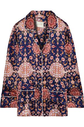 MAISON DU SOIR Brigette printed silk and cotton-blend satin pajama top