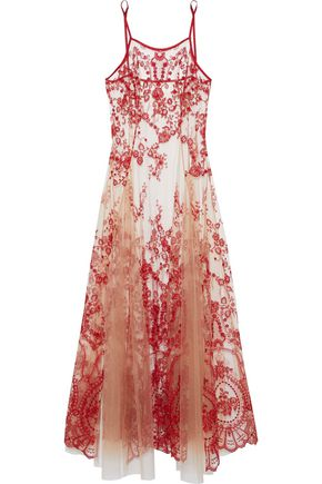 I.D. SARRIERI Pleated embroidered tulle nightgown