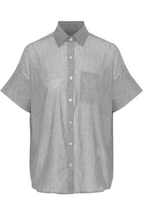 MAISON DU SOIR Portofino pinstriped cotton-gauze pajama shirt