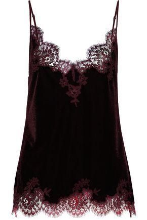 I.D. SARRIERI Rose Imperial lace-trimmed velvet camisole