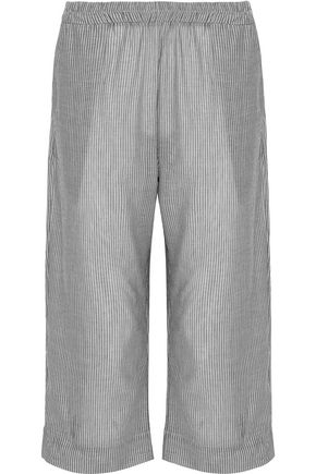 MAISON DU SOIR Capri pinstriped cotton-gauze pajama pants
