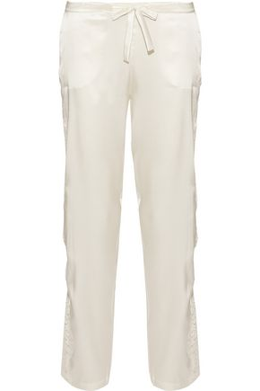 I.D. SARRIERI Lace-trimmed silk-blend satin pajama pants