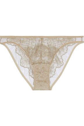 I.D. SARRIERI Metallic embroidered tulle low-rise briefs