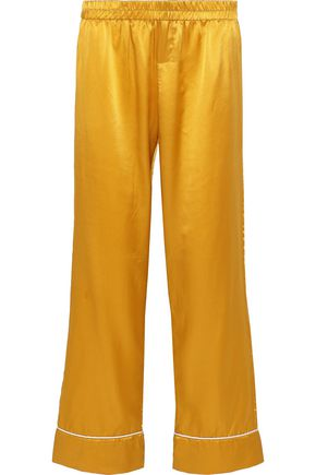 MAISON DU SOIR Alexandra silk and cotton-blend satin pajama pants