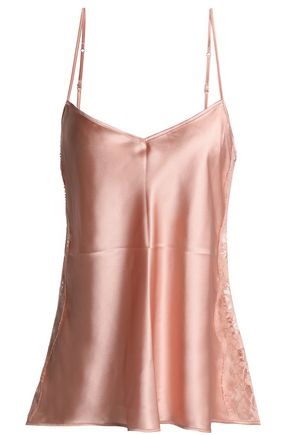 I.D. SARRIERI Lace-trimmed silk-blend satin camisole