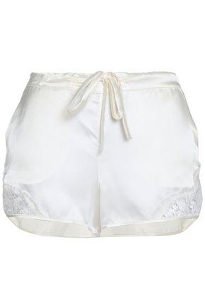 I.D. SARRIERI Lace-trimmed silk-blend satin pajama shorts