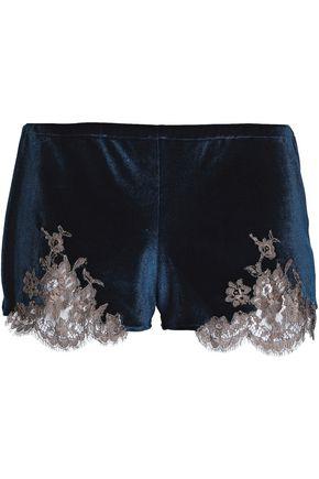 I.D. SARRIERI Lace-trimmed velvet pajama shorts