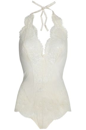 I.D. SARRIERI Lace and tulle halterneck bodysuit