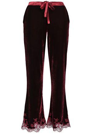 I.D. SARRIERI Lace-trimmed velvet pajama pants