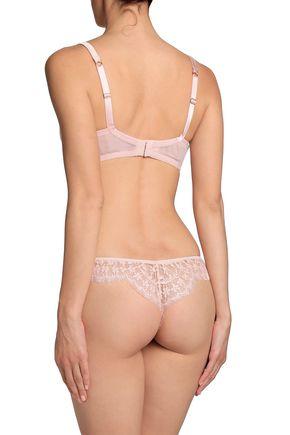 I.D. SARRIERI Cotton-blend lace and satin underwired bra