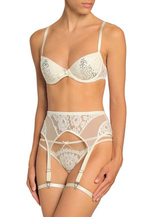 I.D. SARRIERI Cotton-blend corded lace and mesh suspender belt