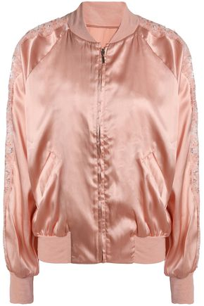 I.D. SARRIERI Macaroon Delights lace-trimmed silk-blend satin jacket