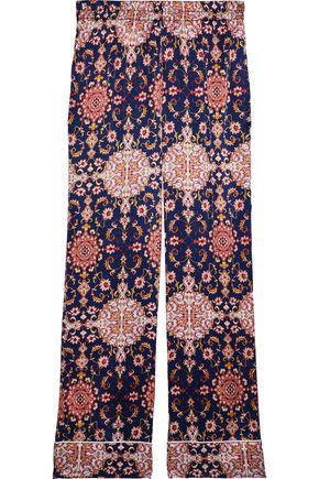 MAISON DU SOIR Alexandra printed silk and cotton-blend satin pajama pants