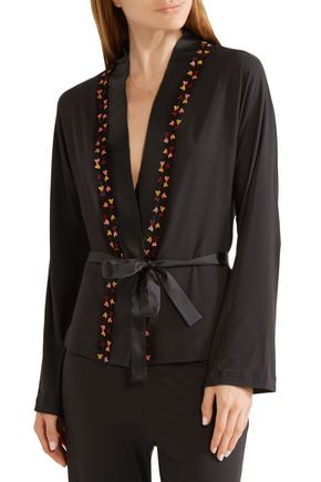 LA PERLA Blooming lace and satin-trimmed stretch-modal pajama top