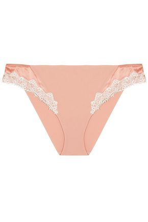 LA PERLA Lace and satin-trimmed stretch-silk low-rise briefs