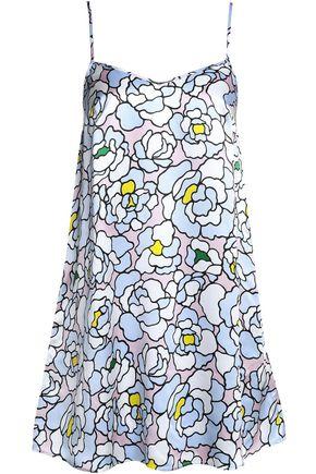 OLIVIA VON HALLE Printed silk-satin chemise