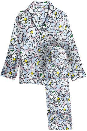 OLIVIA VON HALLE Floral-print silk-satin pajama set
