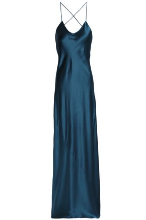 OLIVIA VON HALLE Draped silk-satin nightdress