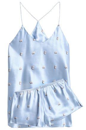 OLIVIA VON HALLE Printed silk-satin pajama set