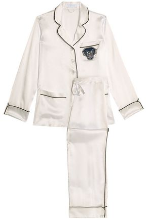 OLIVIA VON HALLE Appliquéd silk-satin pajama set