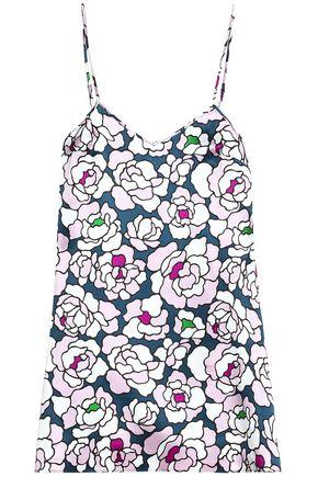 OLIVIA VON HALLE Floral-print silk-satin nightdress