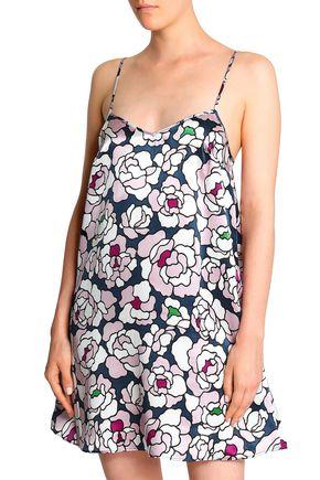 OLIVIA VON HALLE フローラルプリント シルクサテン ナイトドレス