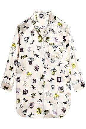 OLIVIA VON HALLE Printed silk-satin nightshirt