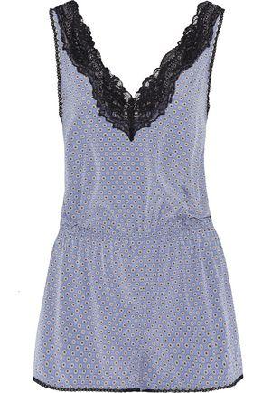 STELLA McCARTNEY Lace-trimmed printed stretch-silk playsuit