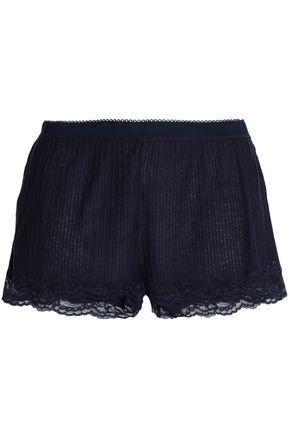 STELLA McCARTNEY Lily Blushing lace-trimmed ribbed jersey pajama shorts