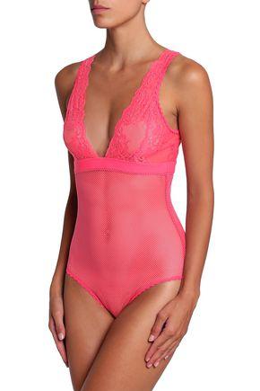 STELLA McCARTNEY Lace-paneled mesh bodysuit