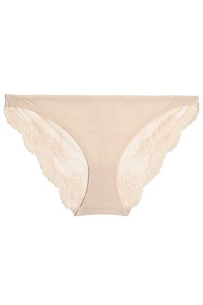 STELLA McCARTNEY Lily Blushing stretch-jersey and lace low-rise briefs
