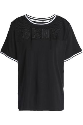 DKNY Mesh-paneled cotton-blend pajama top