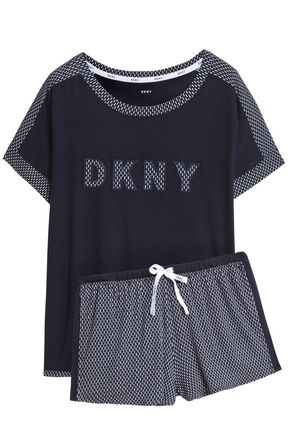 DKNY Embroidered printed jersey pajama set