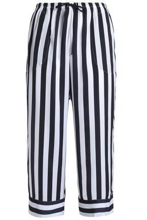 DKNY Cropped striped crepe pajama pants