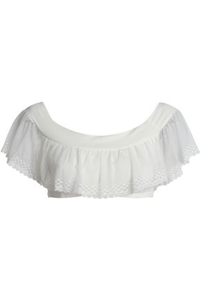 SKIN Off-the-shoulder stretch-Pima cotton mesh top