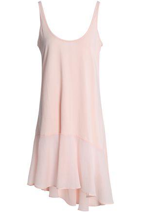 SKIN Asymmetric voile-paneled Pima cotton nightdress