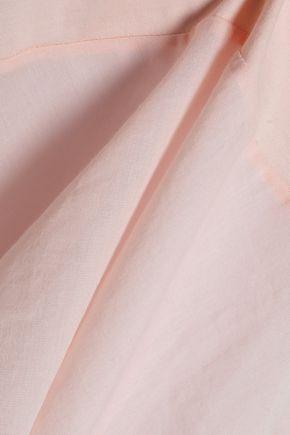SKIN Voile-paneled Pima cotton peplum camisole
