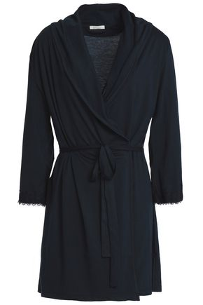 SKIN Lace-trimmed Pima cotton-jersey robe