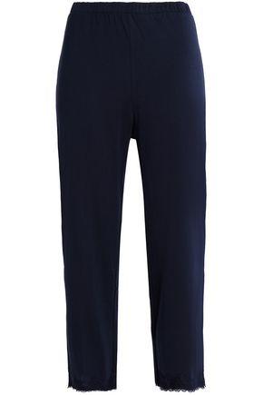 SKIN Lace-trimmed Pima cotton-jersey pajama pants
