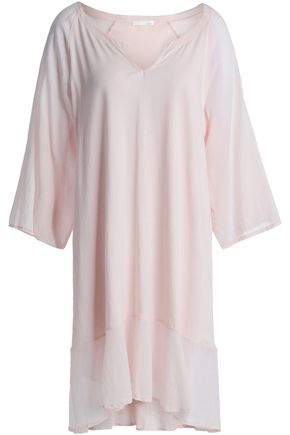 SKIN Paneled Supima cotton-jersey and voile nightdress