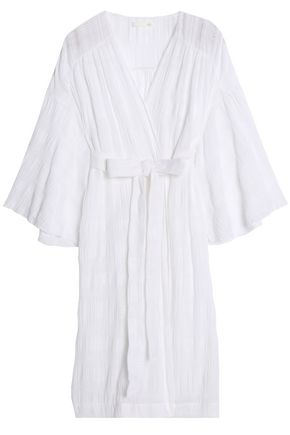 SKIN Cotton-blend gauze jacquard robe