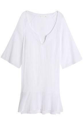 SKIN Paneled Supima cotton-jersey and voile nightdress
