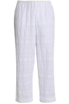 SKIN Cotton-blend gauze jacquard pajama pants