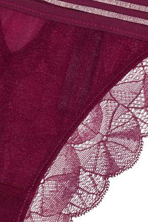 HEIDI KLUM INTIMATES Carnation Desires metallic mesh and lace low-rise briefs