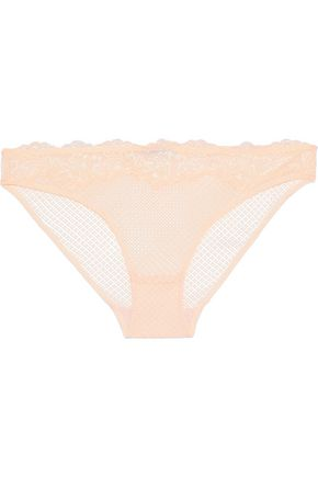 HEIDI KLUM INTIMATES Dahlia Dreams lace-paneled mesh low-rise briefs